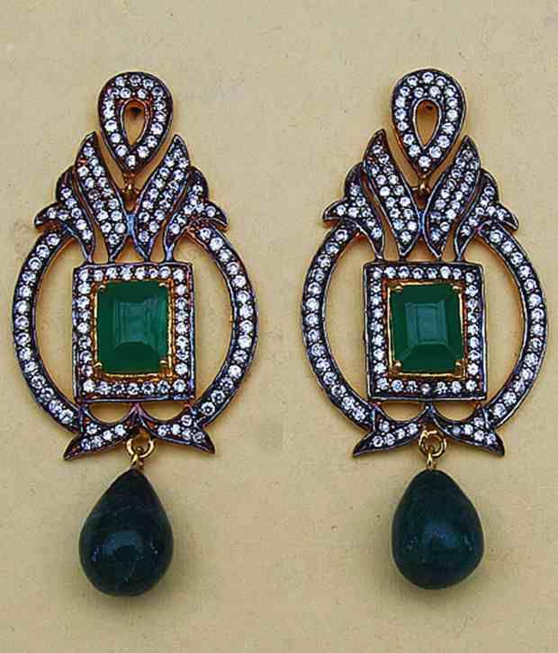 Johareez Golden & Green Crystal Hanging Earrings