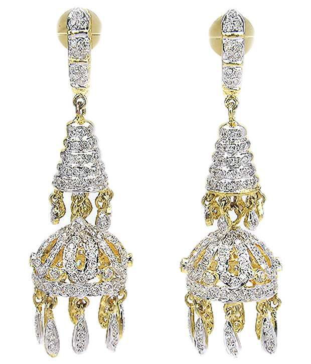 Johareez Golden & Silver American Diamond Hanging Earrings