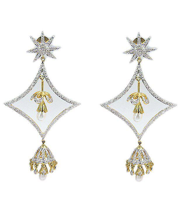 Johareez Silver & Golden American Diamond Hanging Earrings