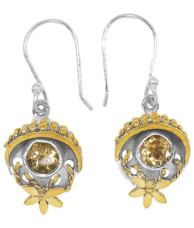 Johareez Silver & Golden Citrine Hanging Earrings