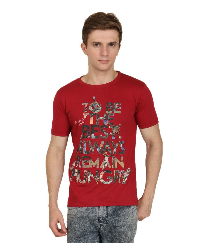 Primodevoir Enterprises Red Cotton Blend Round Neck Printed T-shirt