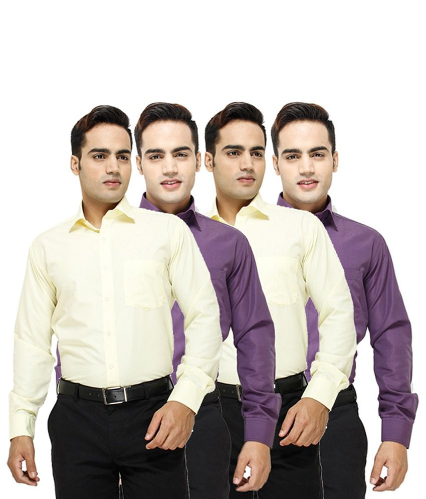 Mall4all Magenta & Yellow Slim Fit Cotton Shirt - Pack Of 2