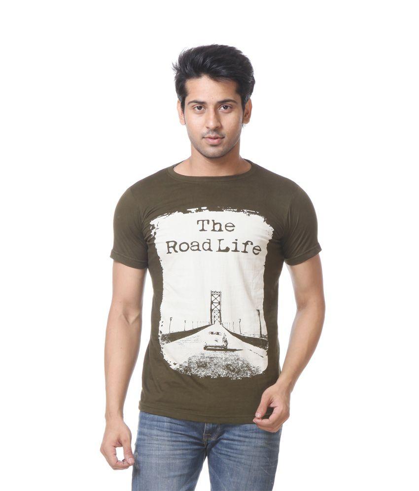 Primodevoir Enterprises Black Cotton Blend Round Neck Printed T-shirt