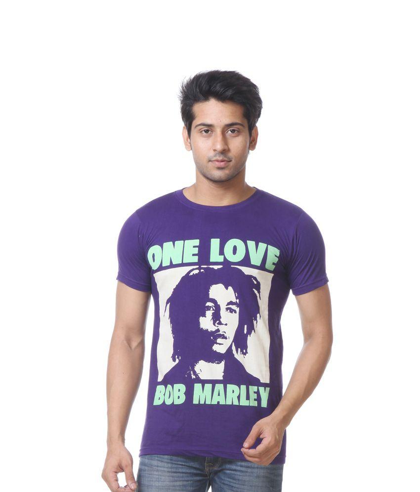 Primodevoir Enterprises Purple Cotton Blend Round Neck Printed T-shirt