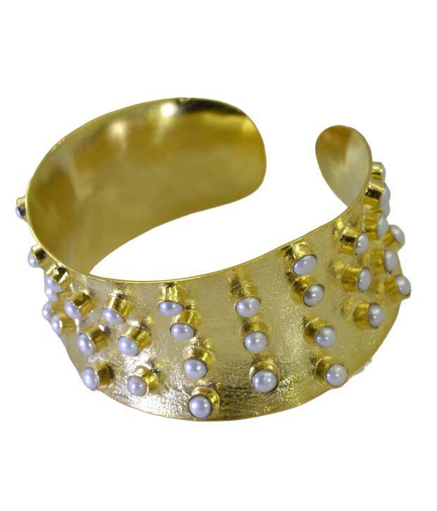 Riyo Brass & Copper Gold Plated Crystal Bangle
