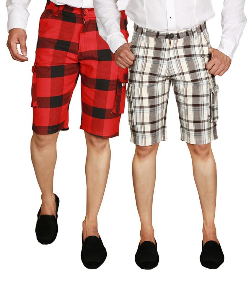 Wajbee Gray & Red Checks Cotton Men's Cargo Shorts (Pack of 2)