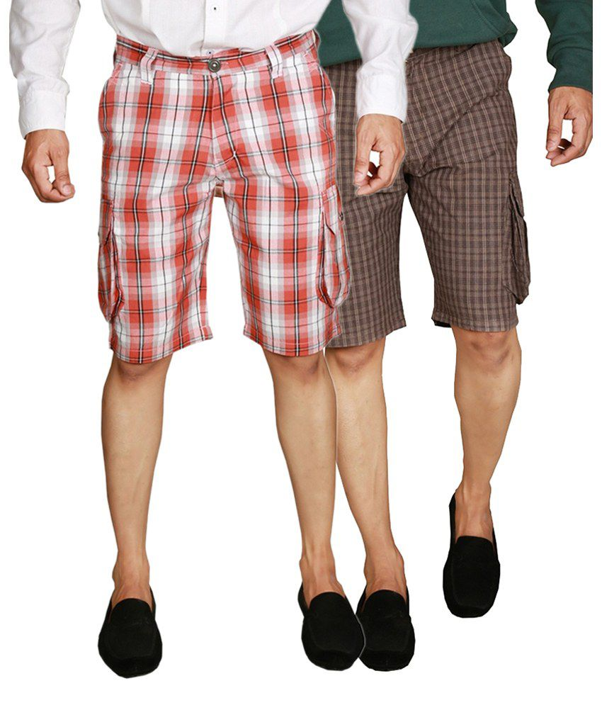 Wajbee Red and Brown Checks Men's Cargo Shorts (Pack of 2)