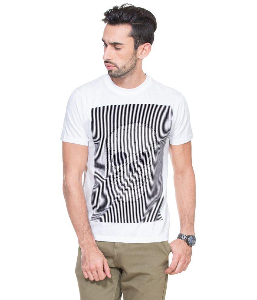 Zovi Skull Stripes White Graphic T-shirt
