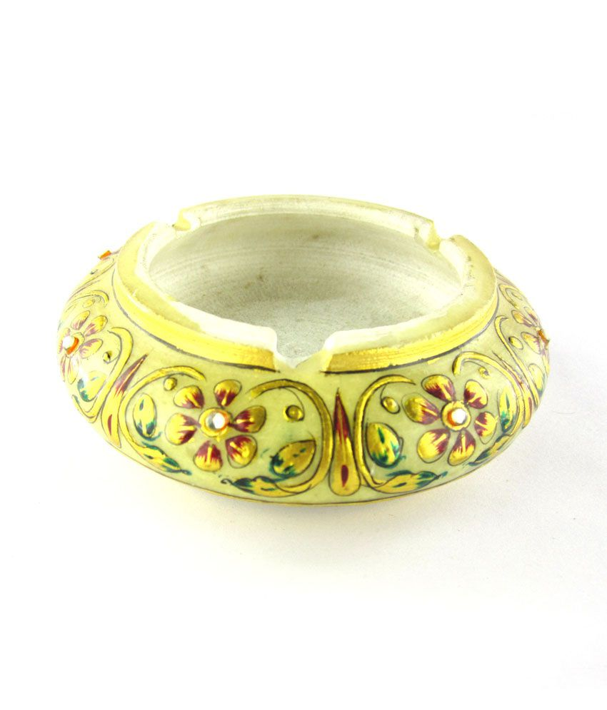 Chave Marble Ashtray With Real Gold Painting