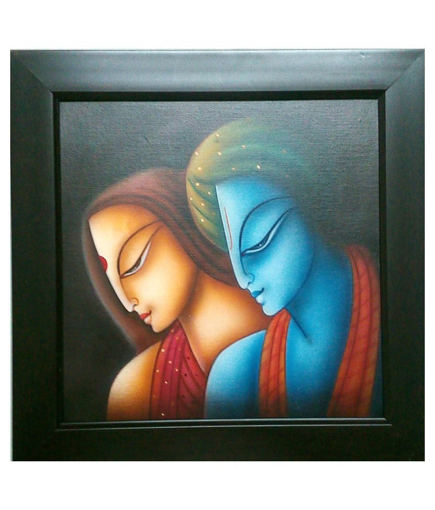 Creative world hand made radha krishna faces on canvas for How paint on canvas