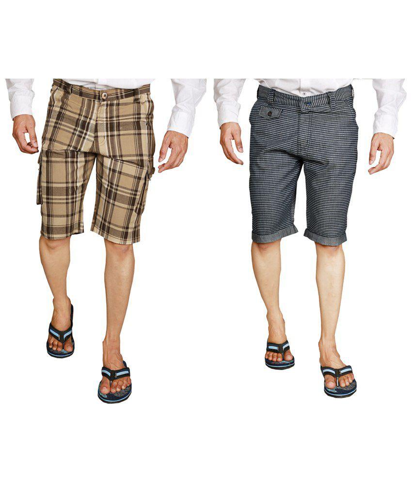Wajbee Combo of 2 Brown & Black Checkered Bermuda Shorts for Men