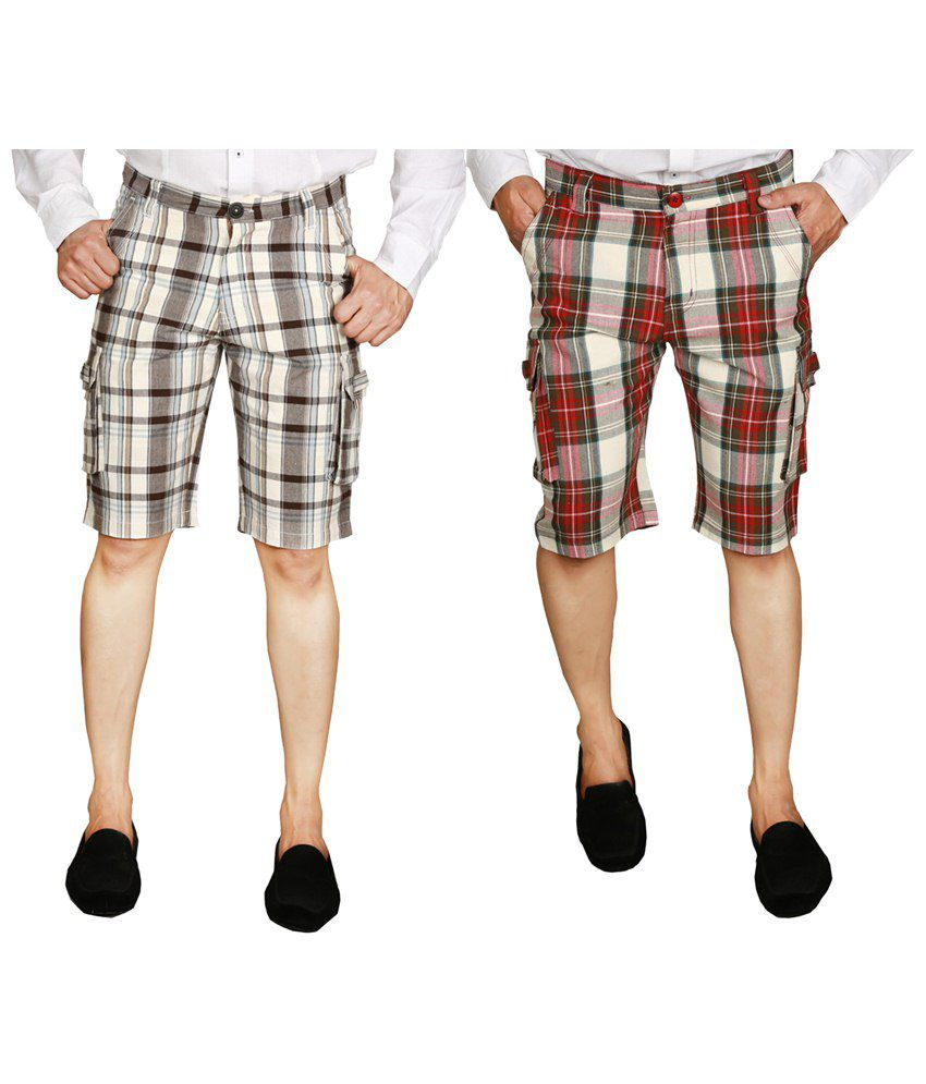 Wajbee Exclusive Combo of 2 Gray & Red Checkered Bermuda Shorts for Men