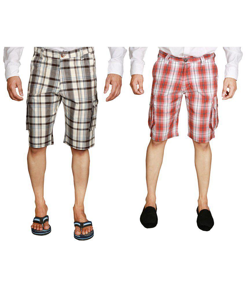 Wajbee Trendy Combo of 2 Gray & Red Checkered Bermuda Shorts for Men