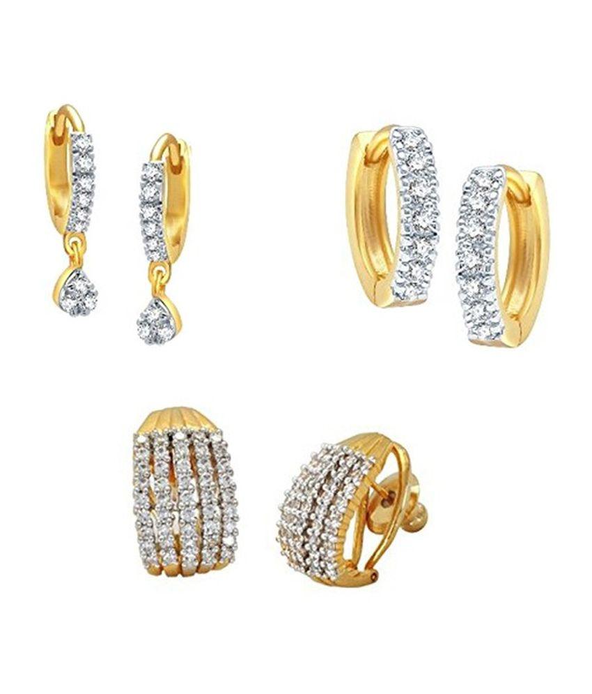 Amana Jewels Golden Alloy Hoop Earrings