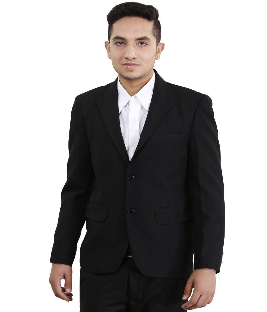 Loui-E-Ville Black Polyester Solid Formal Blazer For Men's