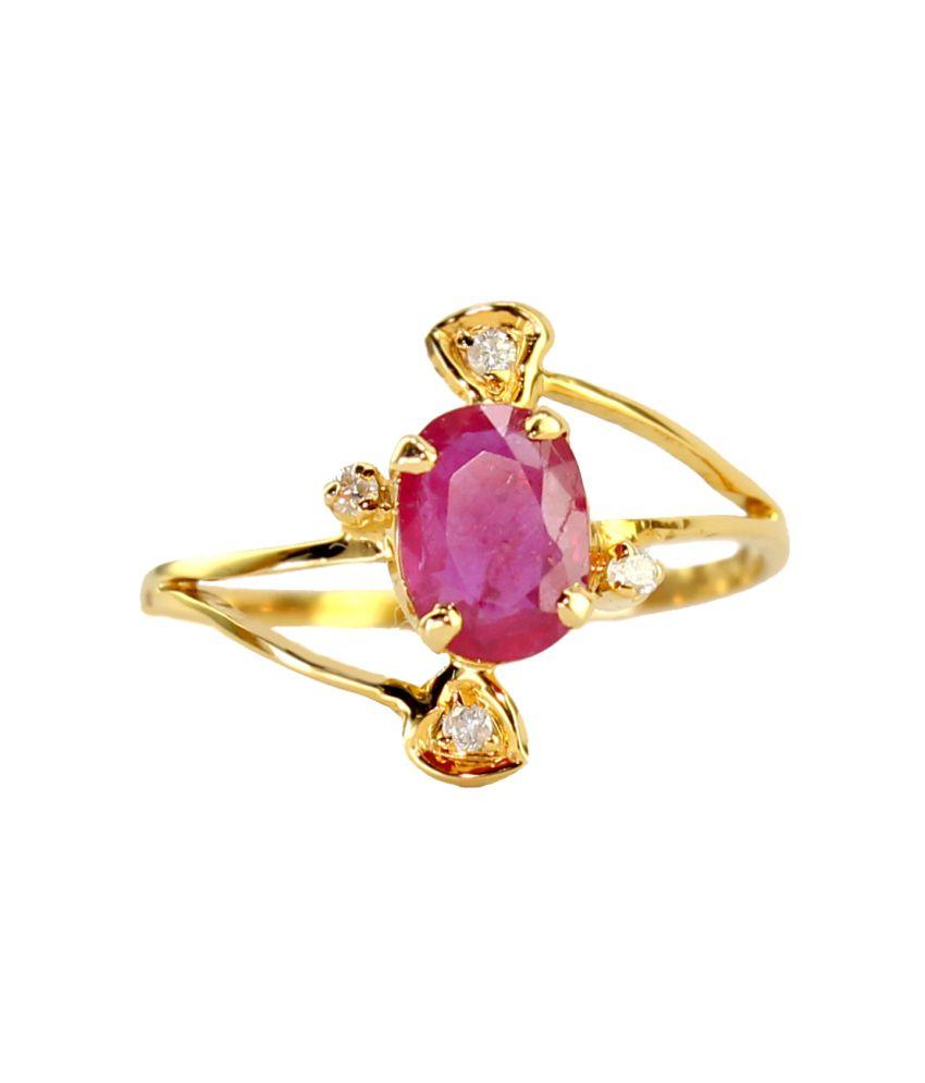 Karuri Jewellers Pink 18kt Gold Colour Spark Ring