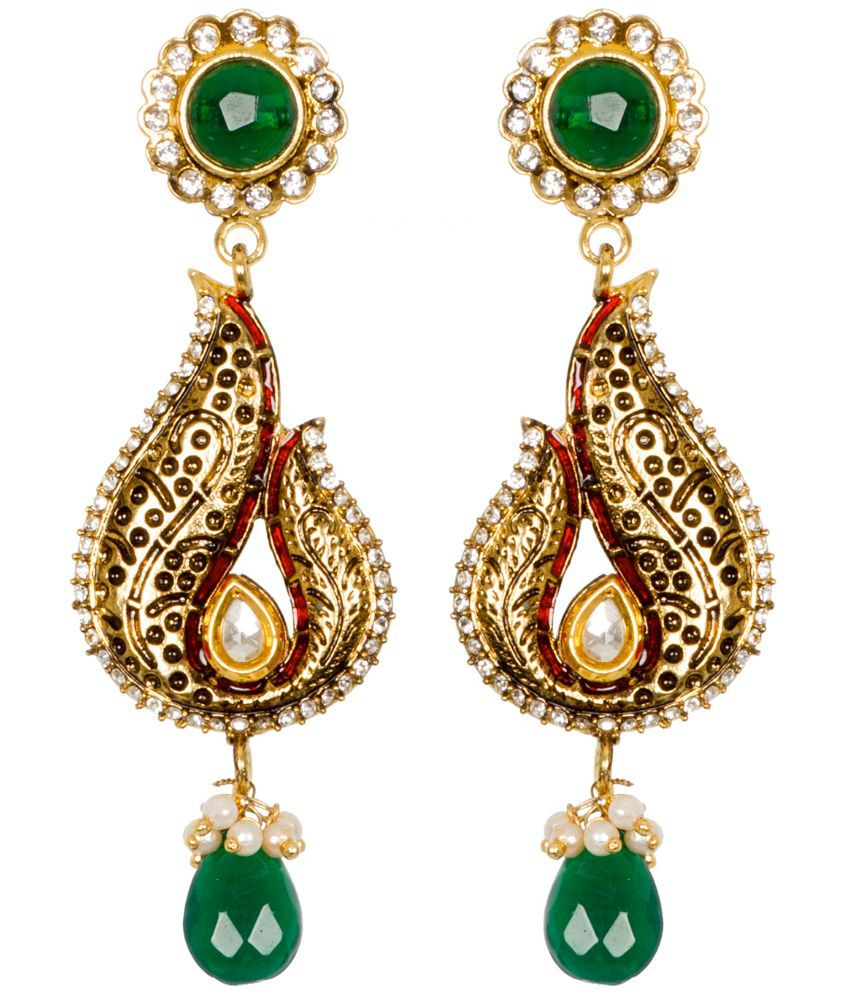Subh Gold Plated Wedding & Engagement Wear Drop Earrings