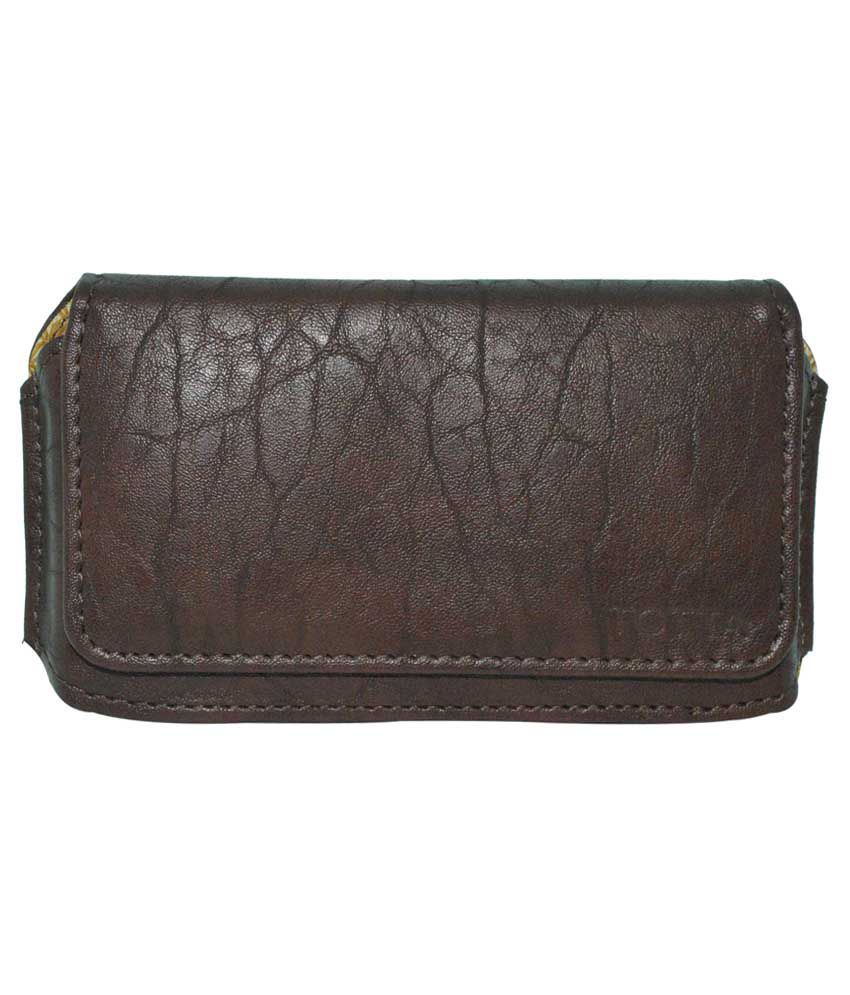 Totta Universal PU Leather Belt Pouch Holster For Celkon A62 - Brown