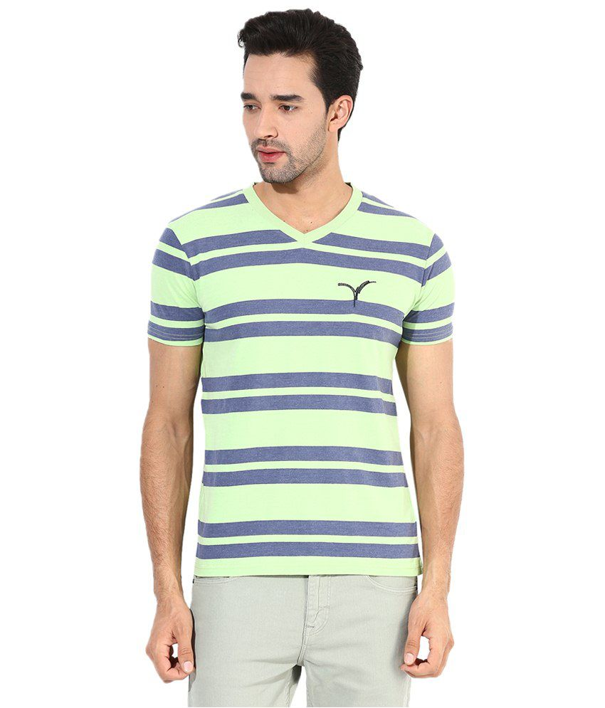 d54e581a9ed Monteil   Munero Light Green N Blue Striped V Neck T Shirt for Men - Buy  Monteil   Munero Light Green N Blue Striped V Neck T Shirt for Men Online  at ...