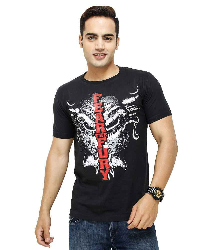 Black t shirt low price -  Yuva For Men T Shirts Black Fear The Fury T Shirt Pack Of 2