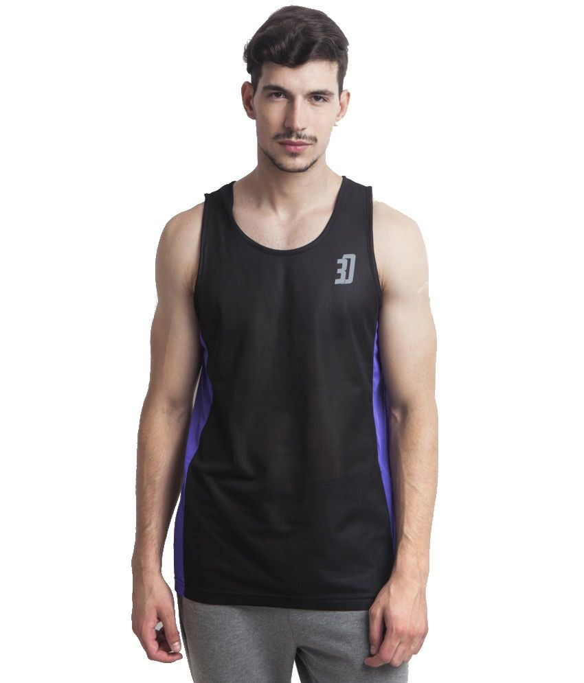 3 Degre Black Polyester T-shirt