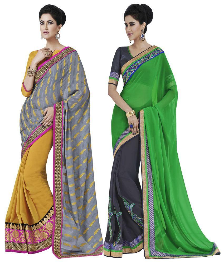 Indian Women Multi Georgette Pack of 2