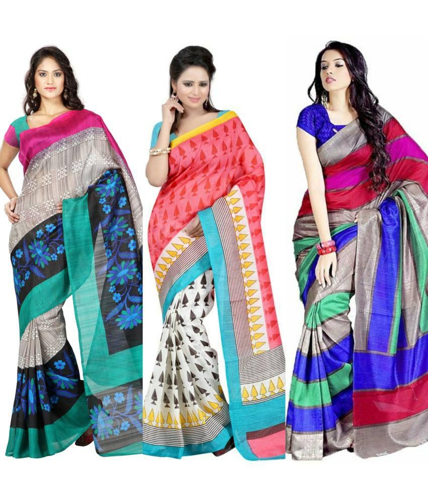 Fashion Designer Sarees Multicoloured Bhagalpuri Silk Saree