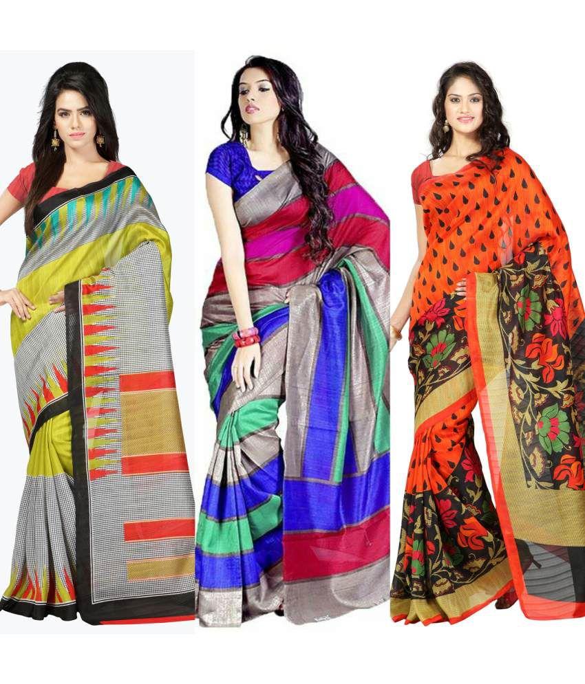 Fashion Designer Sarees Multi Color Bhagalpuri Silk Saree
