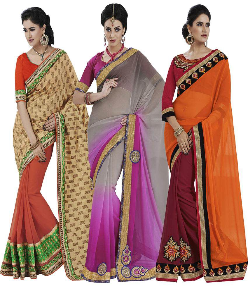 Indian Lady Multi Georgette Pack of 3