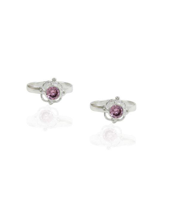 Pehchan Pink German Silver Free Size Toe Ring