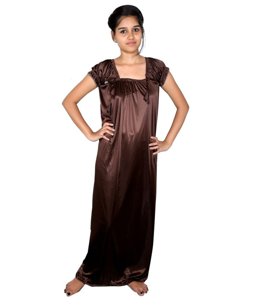0021d254d Buy Shy Store Brown Satin Nighty Online at Best Prices in India - Snapdeal