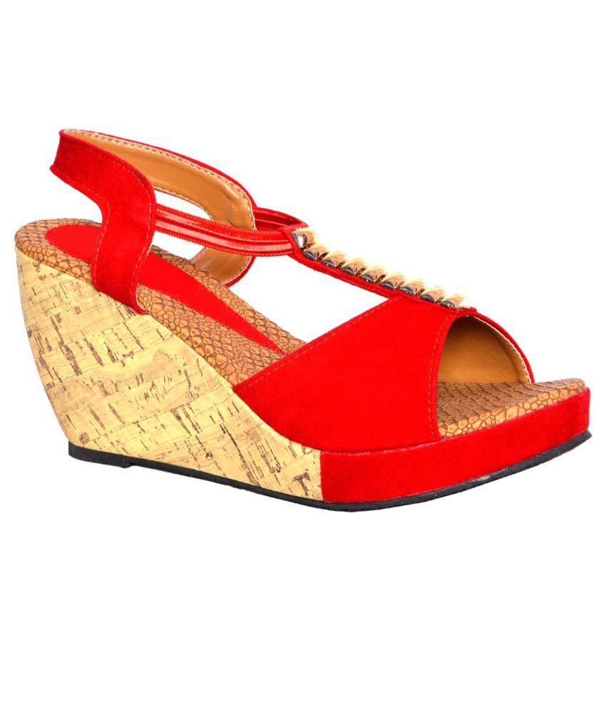 FatDuck Red Suede Heeled Sandals