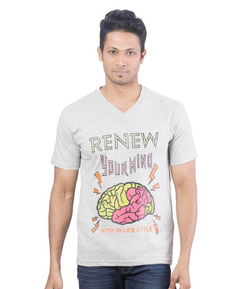Oviyon Gray Cotton Printed V-neck T Shirt For Men
