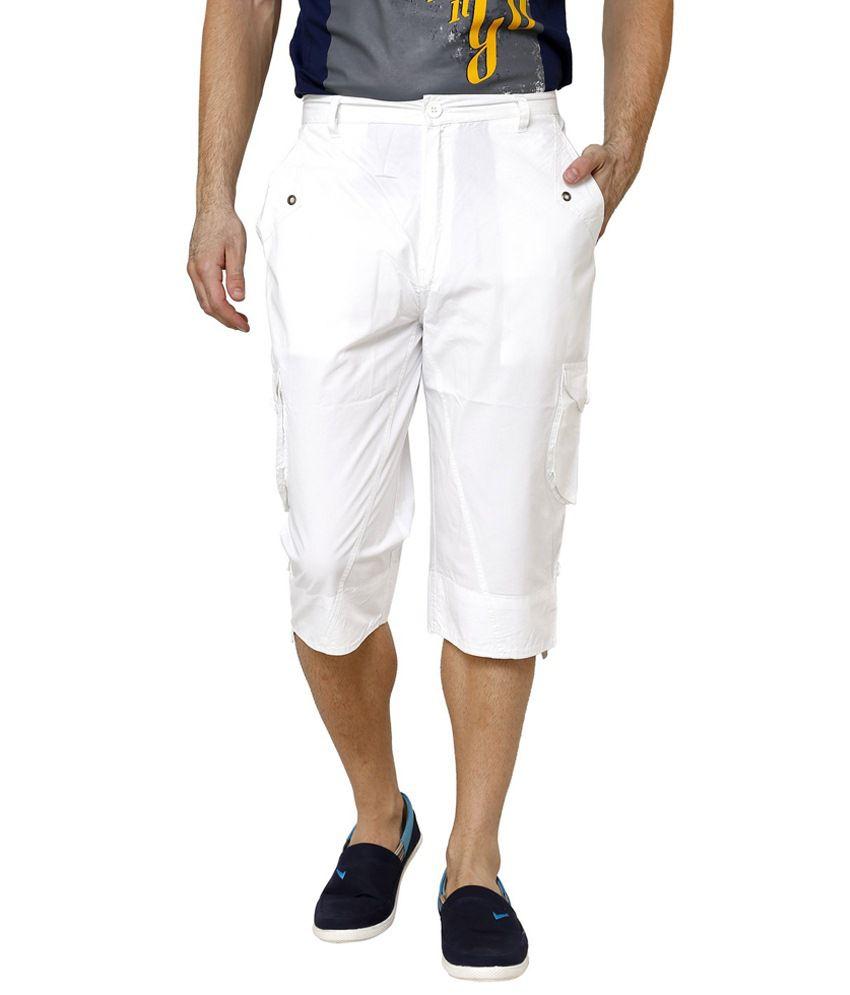 Riverstone White Cotton Blend Shorts
