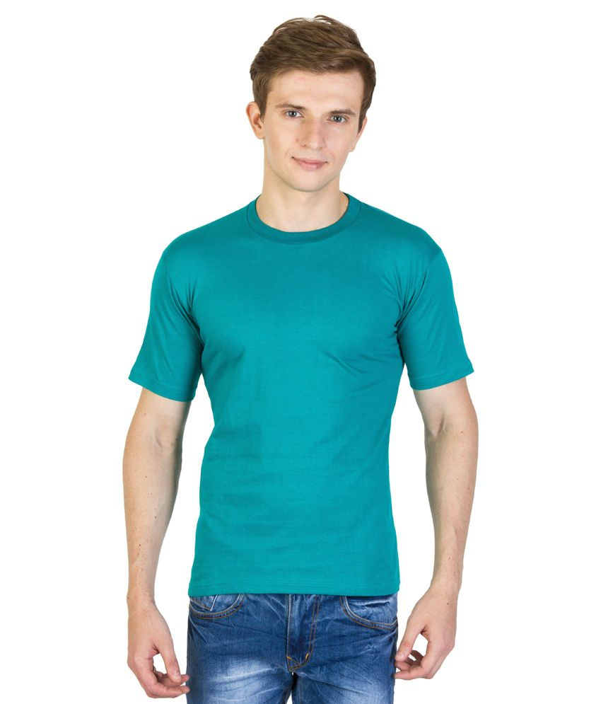 Value Shop India Turquoise Cotton Round Neck Half Sleeves T- Shirt