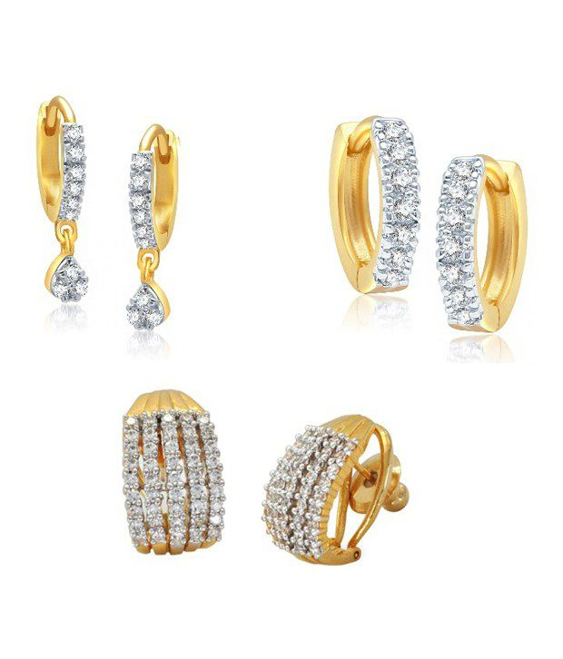 YouBella Collection White American Diamond CZ Earrings - Combo of 3