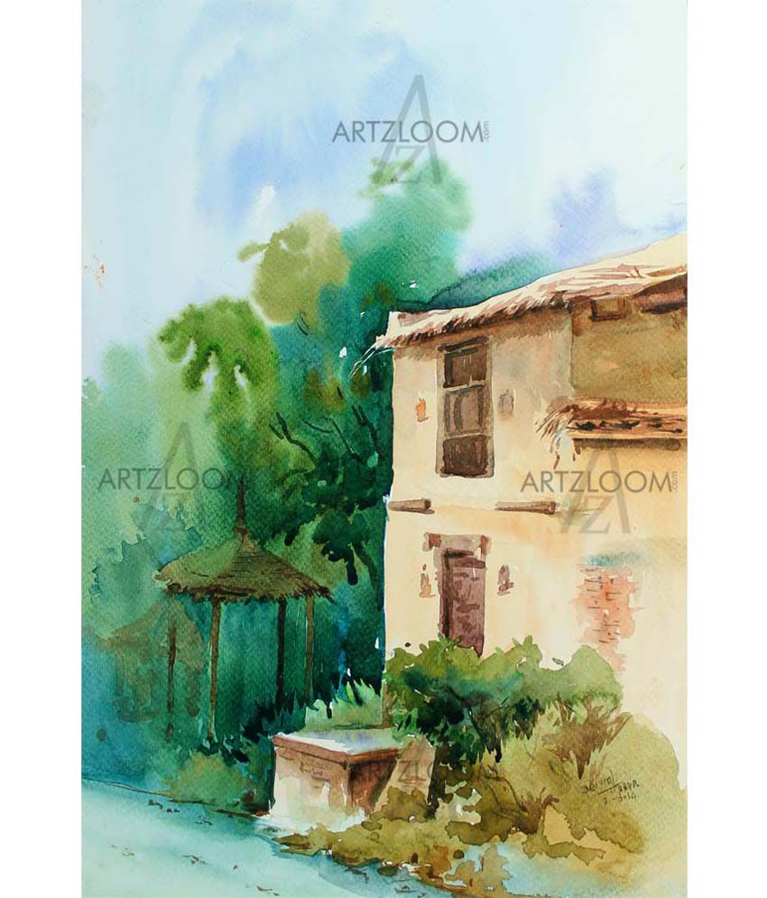 Artzloom.com Matte Aashiyana Painting With Wooden Frame