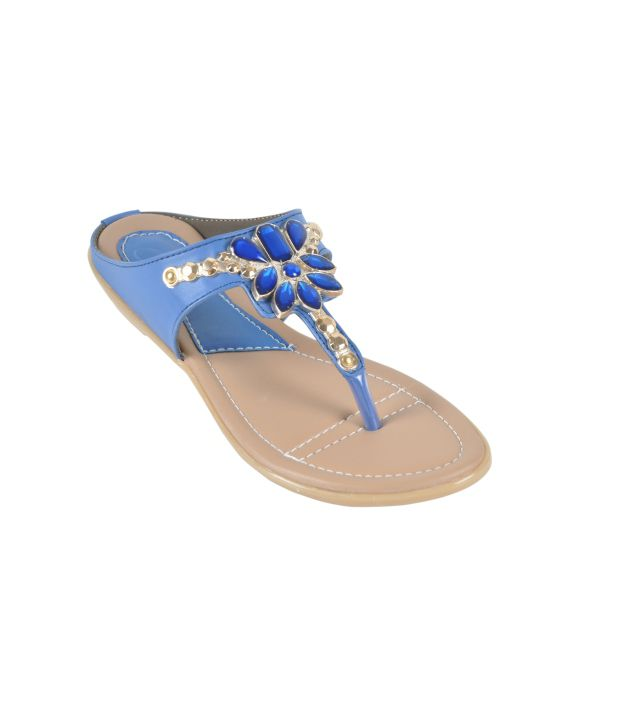 Feet N Knots Blue Faux Leather Flat Slip On