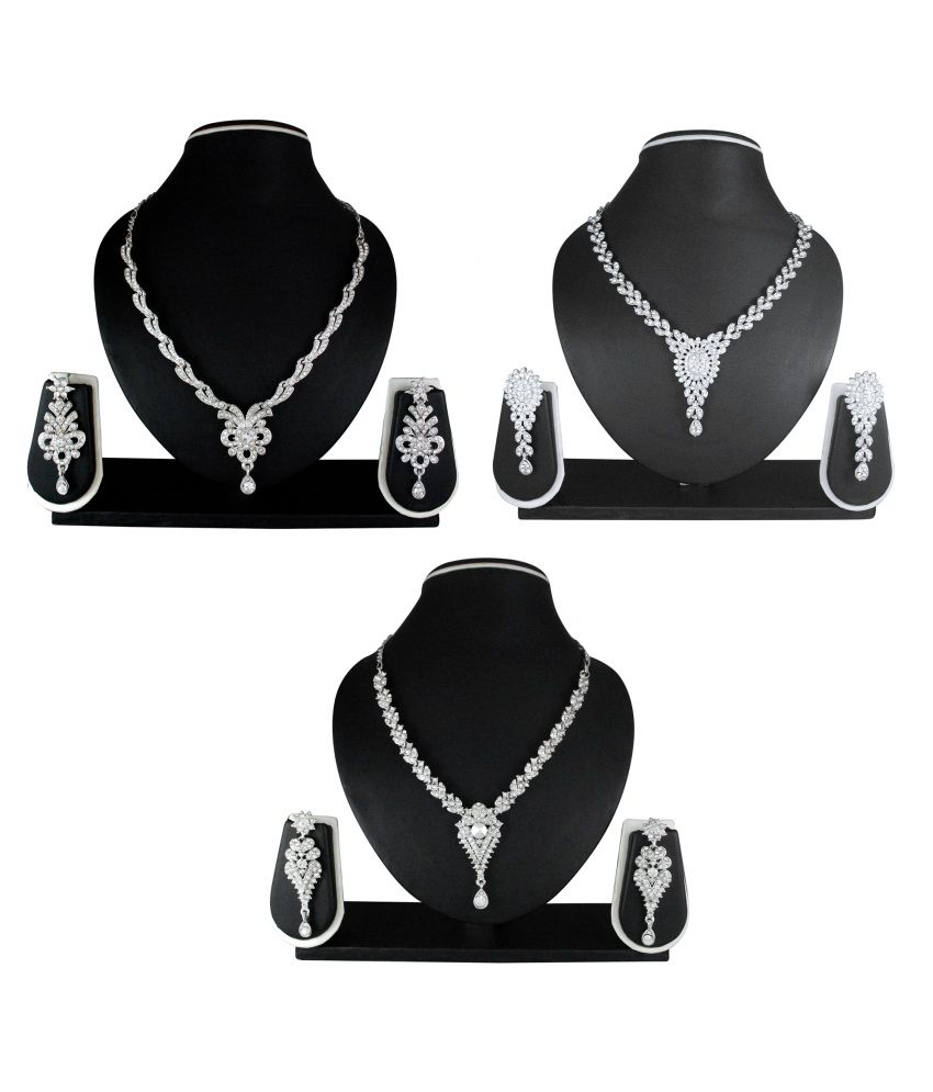 Atasi International White Bridal Alloy Necklace Set