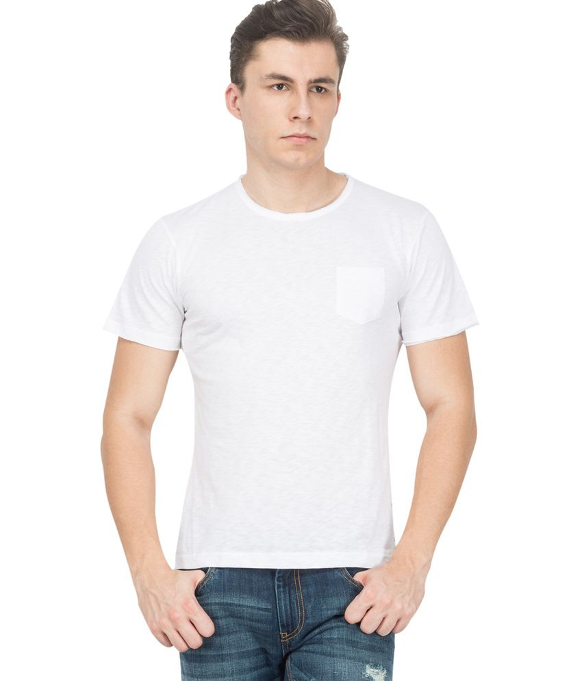 Katyal Knitwears White Round Neck Cotton T-shirt