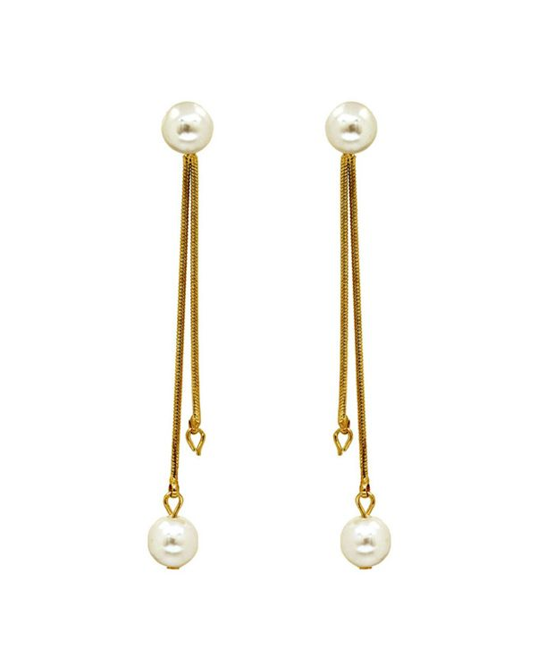 Saashi's Closet Golden Wedding & Engagement Crystal Hanging Earrings