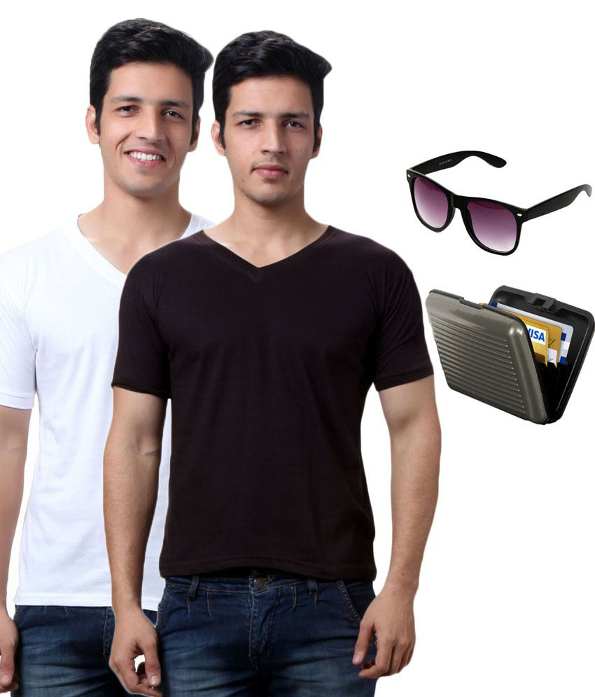 Lime Black Cotton 2 T-Shirts With Security Card & Sunglass