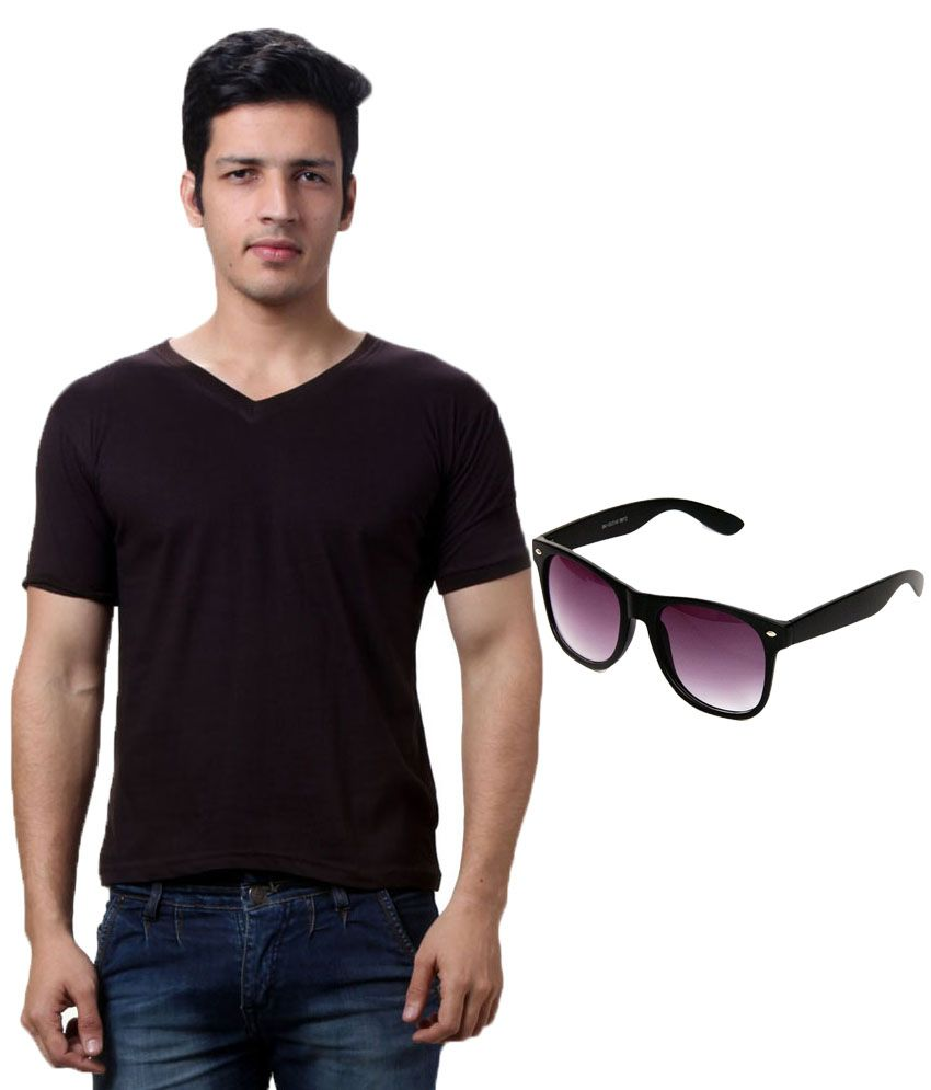 Lime Black Cotton T-Shirt With Sunglass