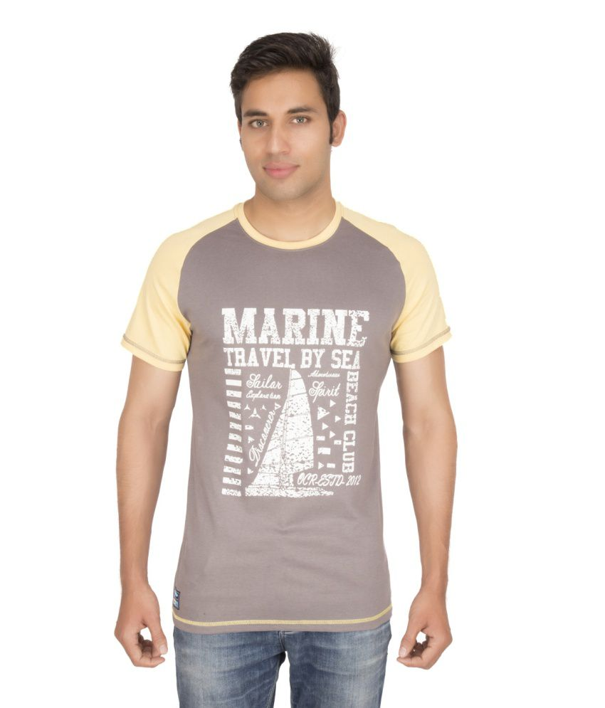 Ocean Race Brown Cotton Round Neck T Shirt For Men