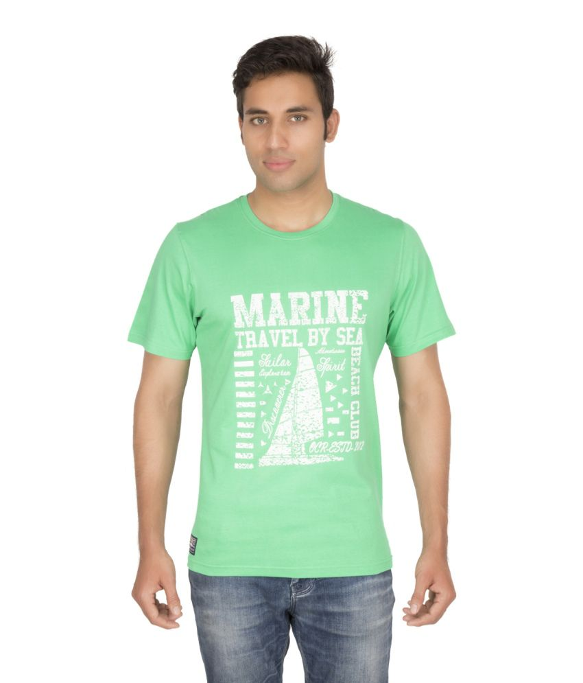 Ocean Race Green Cotton Round Neck T Shirt For Men