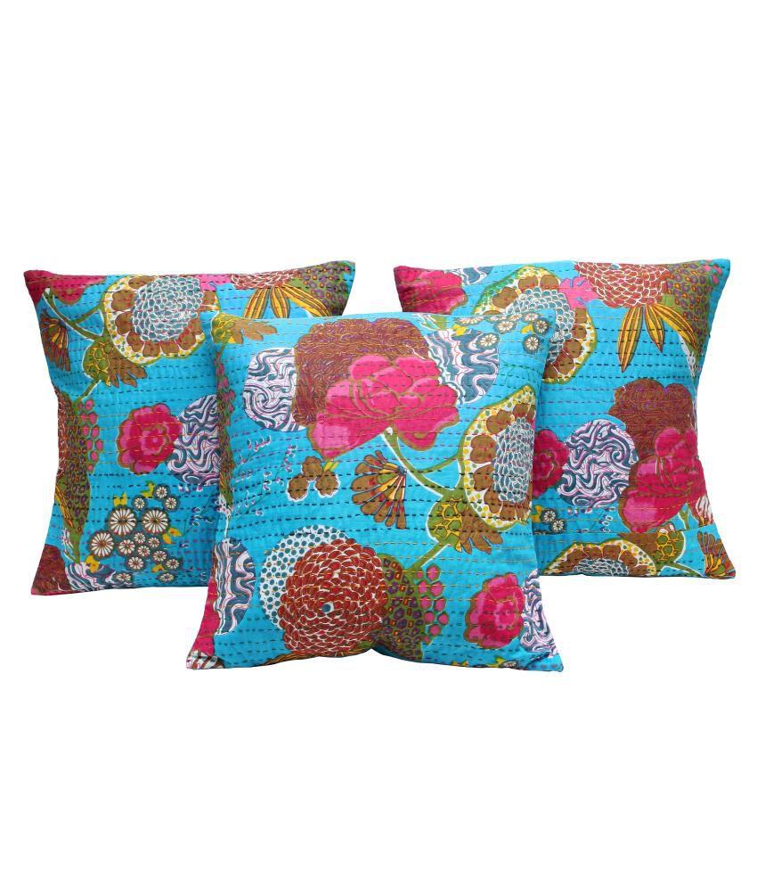 Rastogi Handicrafts Blue Cotton Cushion Cover