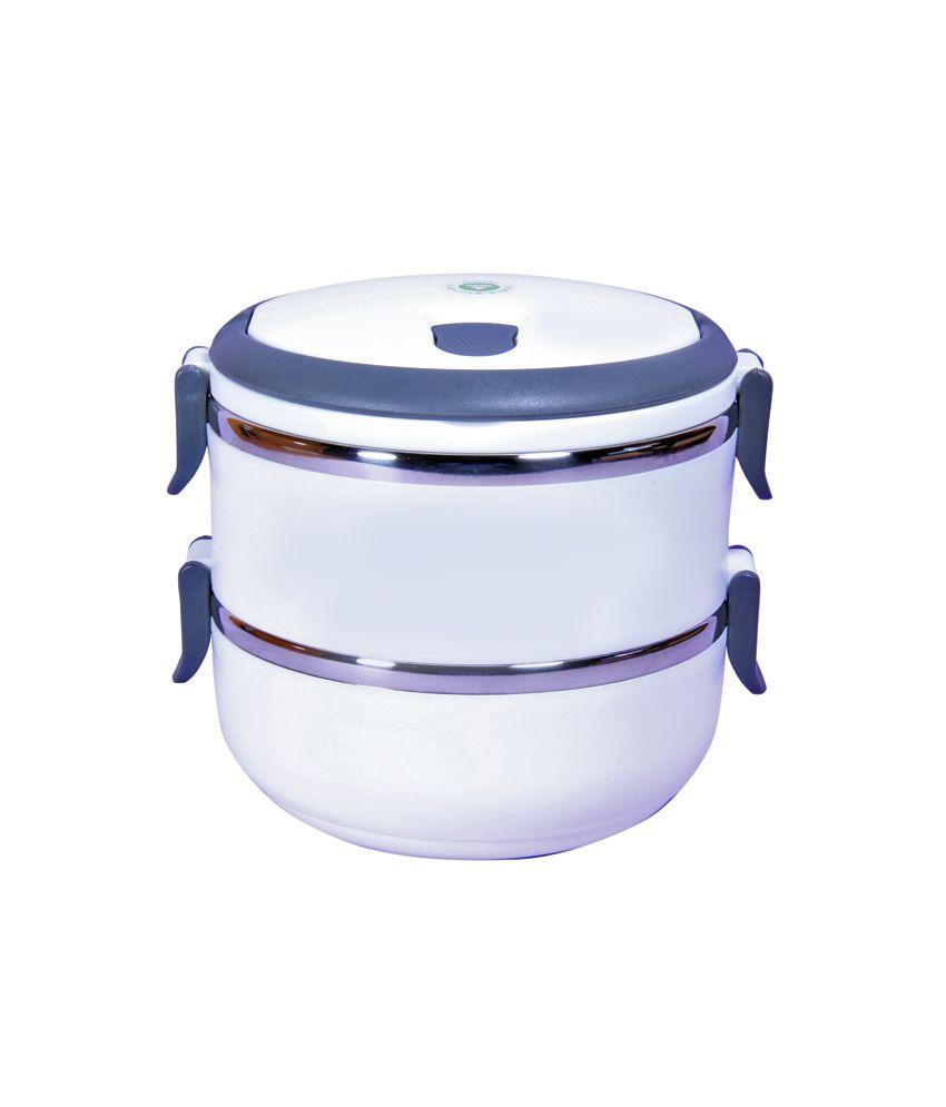 Qn9ne White Steel Lunch Box