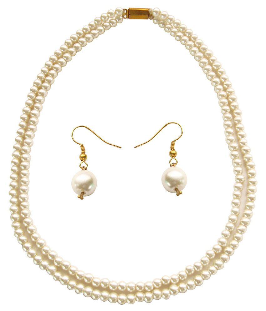 Alekip White Casual Hit Traditional Necklace Set