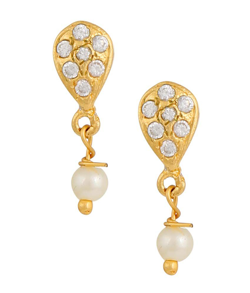 Archi Collection White Alloy CZ Push Back Stud Earrings