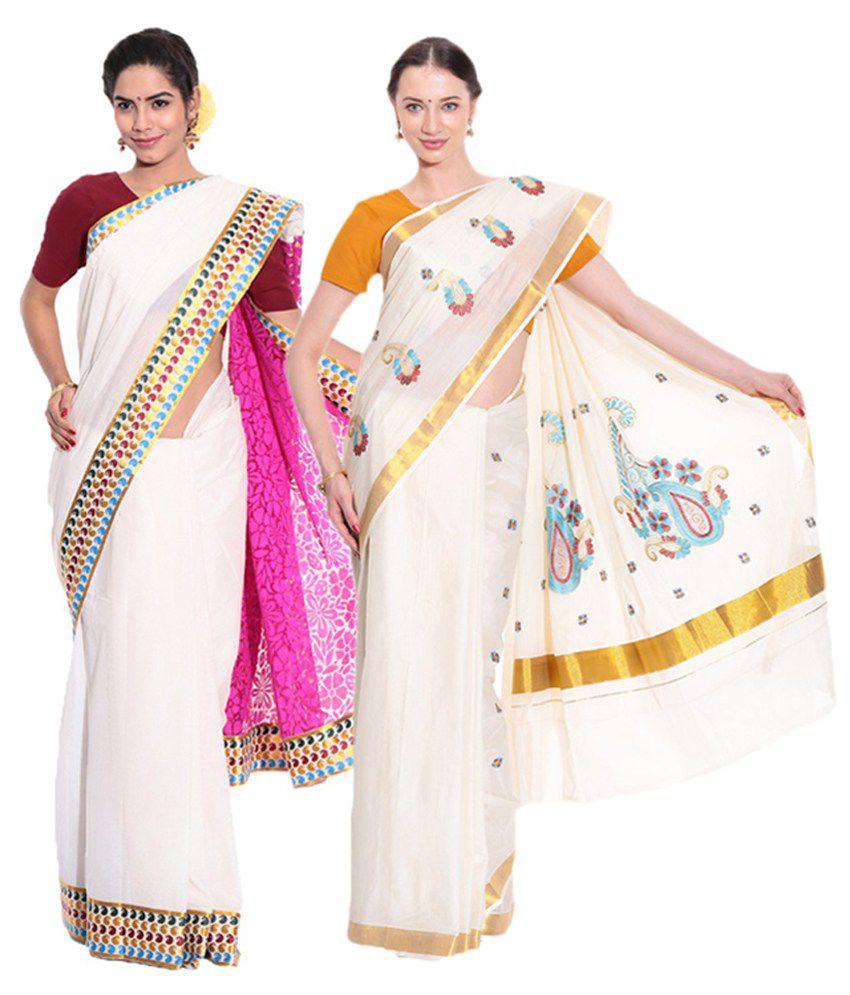 Fashion Kiosks Kerala Kasavu White Cotton Saree with Matching Blouse (Pack of 2)
